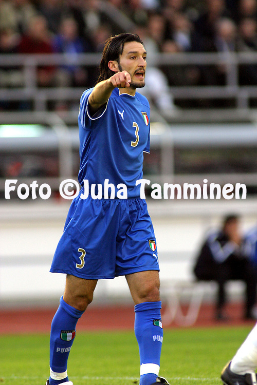 11.06.2003, Olympic Stadium, Helsinki, Finland..UEFA European Championship Qualifying match, Group 9, Finland v Italy.Gianluca Zambrotta - Italy.©Juha Tamminen