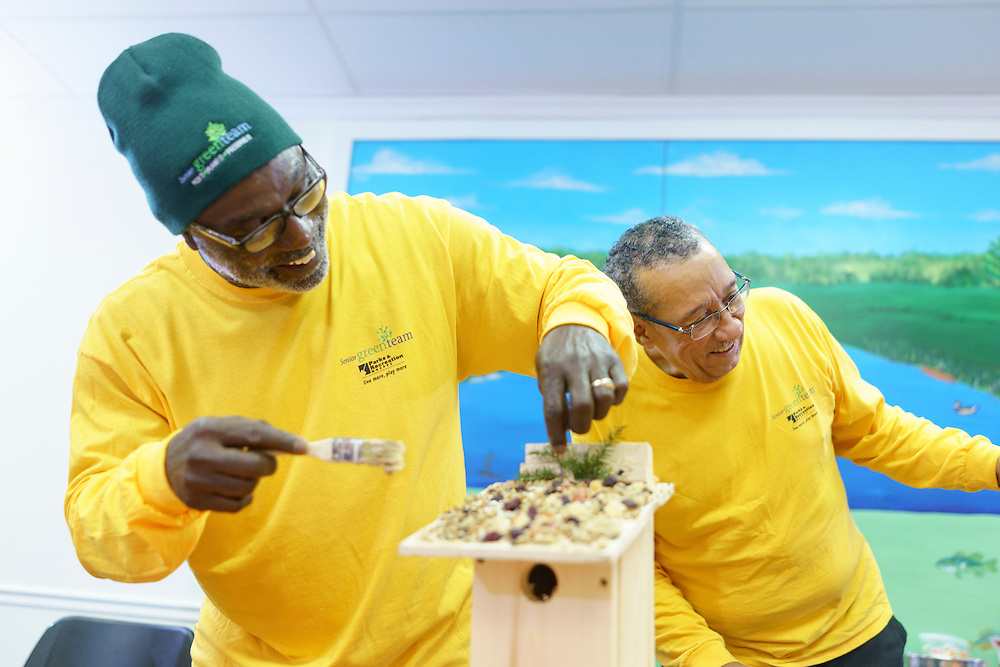 Upper Marlboro, Maryland - January 03, 2017: Arthur Harris, left, and C.P. Payne, members of the Senior Green Team build and decorate birdhouses at the Watkins Park Nature Center in Upper Marlboro, Md., Tuesday January 3, 2017. The group meets the first Tuesday morning of each month and works on nature beautification projects like trail maintenance, tree planting, clean ups, and, educational outings. <br /> <br /> CREDIT: Matt Roth