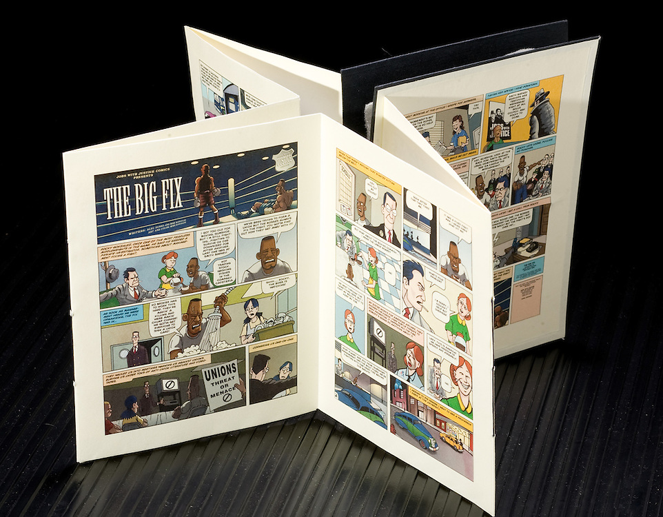 Artist: Mike Konopacki. Title: Political Cartoons. This accordion structure catalogs several copies of political cartoons by the artist. Smaller folded inserts are sewing into both sides of the book.