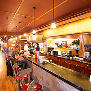 50's era lunch counter in the restaurant at the Old Faithful Lodge, Yellowstone National Park.  Wyoming, USA