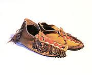 0193-1017B ~ Copyright: Historic Mescalero Apache Indian beaded moccasins.  Circa 1930's.  New Mexico.  10 1/4 inch long.
