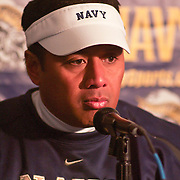 Coache Ken Niumatalolo meets with the press at the end of the game as Navy defeats Central Michigan 38-37, Navy improves to 7-3, Navy will return home November 20 to face Arkansas State.
