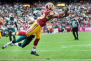 Washington Redskins' wide receiver Pierre Garçon makes a catch for the game winning touchdown with less than 30 seconds remaining in the fourth quarter against the Philadelphia Eagles at FedExField on October 4, 2015 in Landover, Maryland.  The Redskins won the game 23-20. Photo by Pete Marovich/UPI