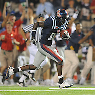 Mississippi's Jesse Grandy returns a punt for a touchdown against Fresno State during an NCAA college football at Vaught-Hemingway Stadium in Oxford, Miss. on Saturday, Sept. 25, 2010. (AP Photo/Oxford Eagle, Bruce Newman) ** MAGS OUT NO SALES MANDATORY CREDIT **