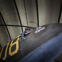 Mr. Joseph Turecky former C47 pilot gets back in the cockpit of the same model of plane he used to fly during 1944 in Sainte Mere Eglise Airborne Museum