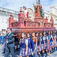 ANTIGUA , GUATEMALA - JULY 25 : The Patron Saint of Antigua annual procession in Antigua Guatemala on July 25 2015. Every year Antigua's turn to honor its own Patron Saint James.