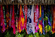 Image of colorful scarves for sale on Bora Bora, Tahiti, French Polynesia