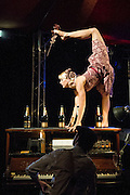 09/05/2012. London, UK.Cantina is an electrifying cocktail of vaudeville and circus, as part of Priceless London Wonderground. Presented by the London Southbank Centre from 8th May - 30th September 2012. Picture shows: Henna Kaikula.