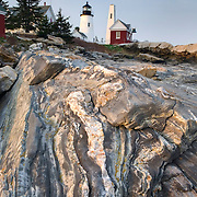 Pemaquid Point Lighthouse on striated metamorphic rocks of Pemaquid Point, Bristol Maine