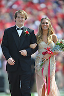 Junior maid Betsy Baird (right) is escorted by Ole Miss football player Andrew Ritter at Ole Miss vs. Auburn at Vaught-Hemingway Stadium in Oxford, Miss. on Saturday, October 13, 2012.