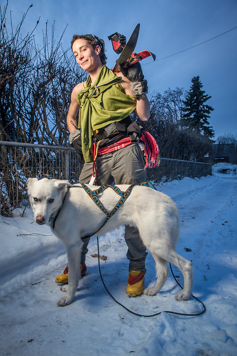 South Addition neighbor, UAA nursing student, and Skijorer, Altaira Wilhelm, with her dog, Sterling, Anchorage.