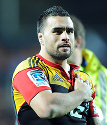 Chiefs Liam Messam holds his hand on his heart after defeating the Crusaders in the Super 15 Rugby semi final match, Waikato Stadium, New Zealand, Friday, July 27, 2012. Credit:SNPA / Ross Setford