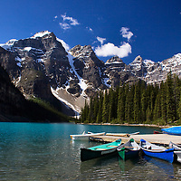 Canoe dock Moraine Lake Banff National Park Alberta, Canada