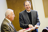 Dr. David Scaer (left) and Dr. Charles A. Gieschen (right) talk together in a classroom at Concordia Theological Seminary on Monday, Jan. 20, 2014, in Fort Wayne, Ind. LCMS Communications/ Erik M. Lunsford