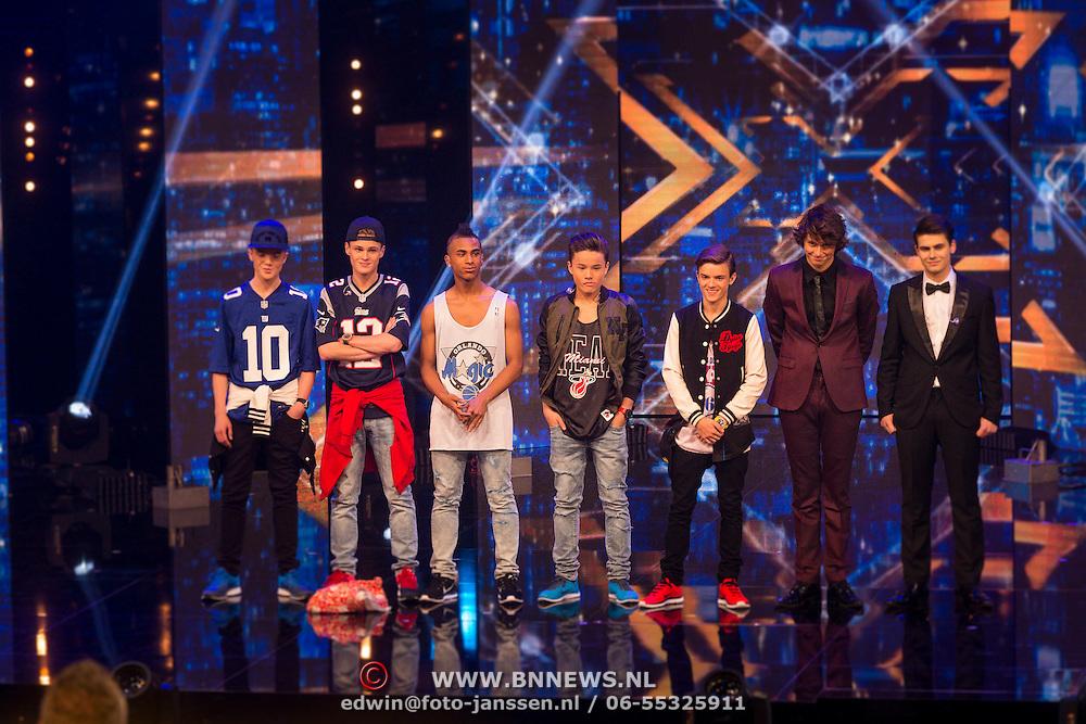 NLD/Hilversum/20130706 - Finale X-Factor 2013, alle finalisten, B Brave, Haris Alagic en Adriaan Persons