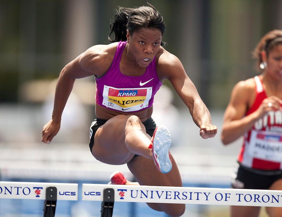 Toronto, Ontario ---10-07-31--- Perdita Felicien competes in the heats of the 100 metre hurdles at the 2010 Canadian Track and Field Championships in Toronto, Ontario July 31, 2010.<br />  GEOFF ROBINS/Mundo Sport Images