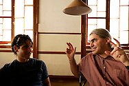 """Bass players Adam Lane and Ken Filiano chat during lunchtime. """"Jazz ao Centro"""" jazz festival is held twice a year in portuguese town of Coimbra."""