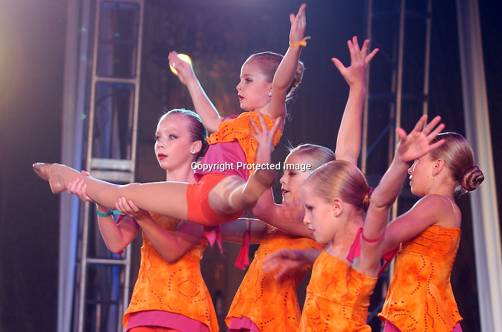Dancers from the Dance Club of Orem, Utah perform at the New York Dance Alliance's national competition finale July 10, 2005 in New York City. The Dance Club went on to win the National Mini Critics' Choice award.<br />