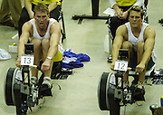 © Peter Spurrier/Sports Photo +44 (0) 7973 819 551.PPP Healthcare British Indoor Rowing Championships.18th Nov. 2001.National Indoor Arena...Matt Pinsent and James Cracknell (R) matching each other, stroke for stroke, in the early stages of their race at the British Indoor Rowing Championships at the National Indoor Area at Birmingham... ...........