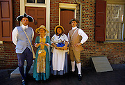 Image of a quartet singing patriotic songs at Elfreth's Alley in Philadelphia, Pennsylvania, model released
