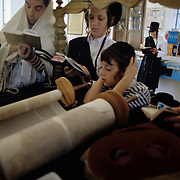 Father and sons praying together in the Kosov Synagogue in Tsfat (Safed), Israel.
