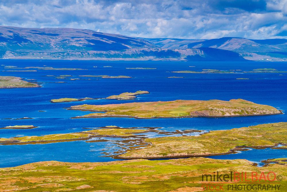 islands in Hvammsfjordur fiord. West fiords. Iceland, Europe.