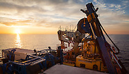 Sunset seen from the Toisa Wave on the South Stream gas pipeline project in the Black Sea.