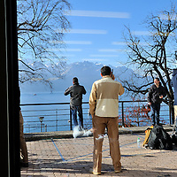 Geneva 2 Syria talks, taking place in Montreux, at the Montreux Palace Hotel. Media on a terrace overlooking Lake Geneva (Lac Leman) and the Alps.