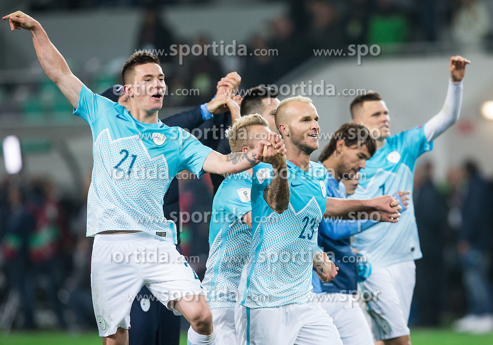 Benjamin Verbic of Slovenia, Aljaz Struna of Slovenia, Rene Krhin of Slovenia, Josip Ilicic of Slovenia celebrate after the football match between National teams of Slovenia and England in Round #3 of FIFA World Cup Russia 2018 Qualifier Group F, on October 11, 2016 in SRC Stozice, Ljubljana, Slovenia. Photo by Vid Ponikvar / Sportida