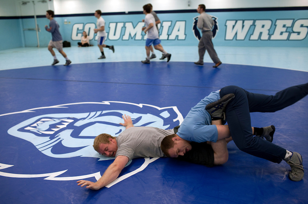 Assistant wrestling coach of the Columbia University's wrestling team, Hudson Taylor live wrestling with Nick Mills during practice at Columbia University in Manhattan, NY on May 20, 2013. Taylor has been one of very few athletes who have supported the LGBT community, even though he himself is straight.
