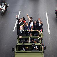 Nicolas Maduro, Elias Jaua, Diosdado Cabello, Cilia Flores y Rafael Ramírez durante el traslado fúnebre de Hugo Chávez hacia el 23 de Enero. Caracas, 15 Marzo, 2013 (Foto / Ivan Gonzalez)