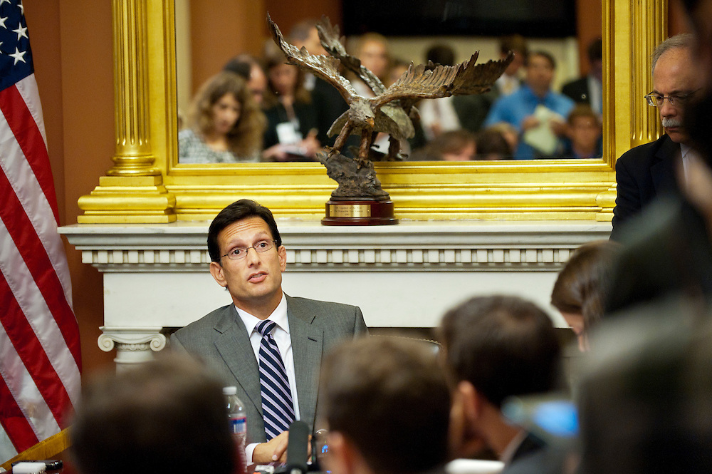 House Majority Leader ERIC CANTOR answers questions from the media about the economy and President Obama's upcoming jobs speech during his weekly press conference at the U.S. Capitol on Wednesday.