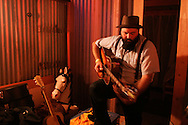 The Reverend Peyton warms up backsstage at Pickathon, the annual roots music festival near Portland, Oregon.