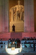 President Bill Clinton gives an address in front of the Lincoln Memorial during his inauguration ceremonies in 1993.