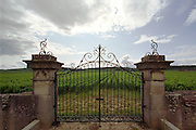 Wrought iron gates at Cote-d'Or vineyard.