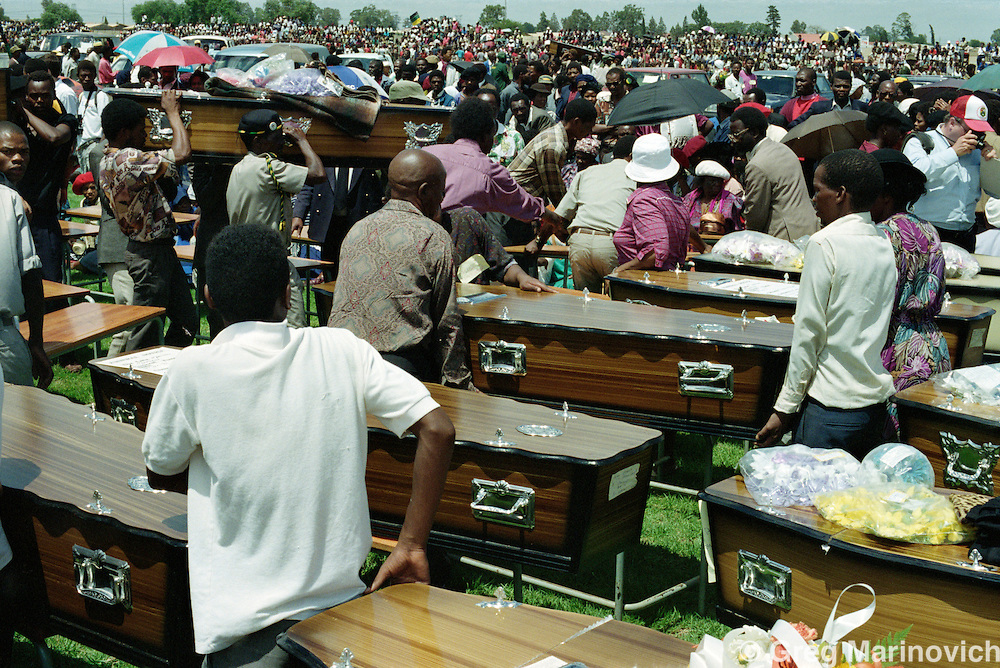 Sebokeng, Vaal, South Africa 1991. A  mass funeral for residents of Sebokeng who were killed by Inkatha Freedom party members.