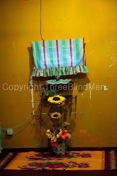 Interior of a home on Ratnam Road. The televison set, artficial flowers and carpet.