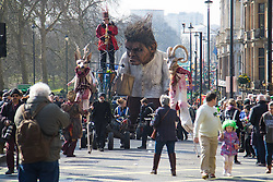 London, March 13th 2016. The annual St Patrick's Day Parade takes place in the Capital with various groups from the Irish community as well as contingents from other ethnicities taking part in a procession from Green Park to Trafalgar Square.  PICTURED: A giant &quot;Crom&quot; from the Macnas street theatre company in Co Galway towers over the procession. &copy;Paul Davey<br /> FOR LICENCING CONTACT: Paul Davey +44 (0) 7966 016 296 paul@pauldaveycreative.co.uk
