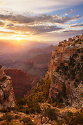 Sunrise at over the Grand Canyon as viewed from Maricopa Point. South Rim of Grand Canyon National Park in Arizona.