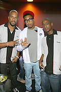 l to r: Common, Pharrell, and DJ Dummy at Common's Start the Show n' Bowl benefiting The Common Ground Foundation held at Hotel Sax on September 26, 2008 in Chicago, IL
