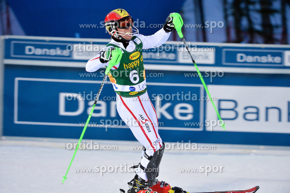 11.11.2012, Levi Black, Levi, FIN, FIS Ski Alpin Weltcup, Slalom, Herren, 2. Durchgang, im Bild Marcel Hirscher (AUT, Platz 2) // 2nd place Marcel Hirscher of Austria reacts after 2nd run of mens Slalom of FIS ski alpine world cup at Levi Black course in Levi, Finland on 2012/11/11. EXPA Pictures © 2012, PhotoCredit: EXPA/ sportbild.se/ Nisse Schmidt..***** A11ENTION - OUT OF SWE *****