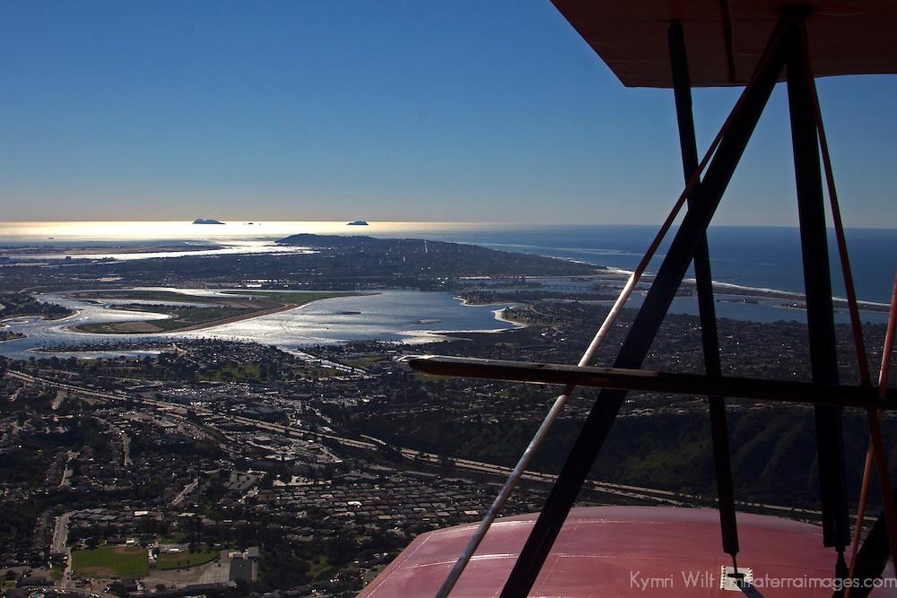 USA, California, San Diego. Aerial Bi-Plane View of Mission Bay.