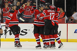 Jan 25, 2013; Newark, NJ, USA; New Jersey Devils celebrate a goal by New Jersey Devils left wing Patrik Elias (26) during the second period at the Prudential Center.