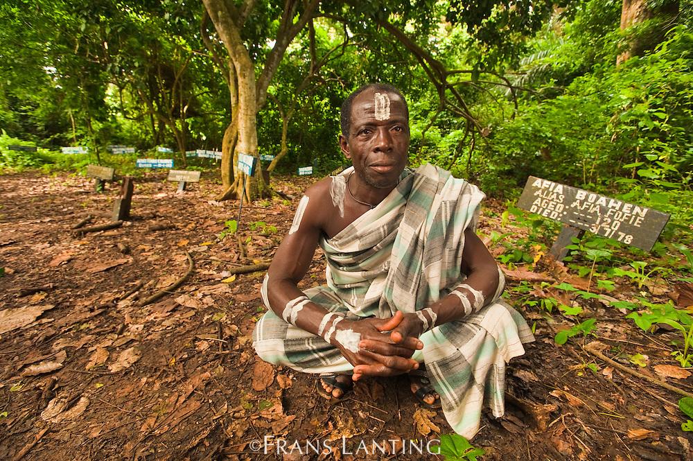 Monkey priest at monkey cemetary, Boabeng-Fiema Monkey Sactuary, Ghana