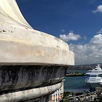 USA, Puerto Rico, San Juan. A cruiseship in port in san Juan, Puerto Rico.