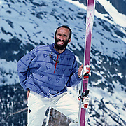 A portrait of the French pioneer of extreme skiing, Patrick Vallencant (1946-1989), in Chamonix, France taken in 1987.  Vallencant was killed in a non skiing related climbing accident in the South of France in 1989.  In addition to numerous first descents throughout the world, Vallencant popularized his exploits in a series of films and created his own line of ski clothing, Degre 7.