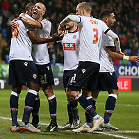 Bolton Wanderers Shola Ameobi celebrates scoring the 3rd goal during the Sky Bet Championship match between Bolton Wanderers v Mk Dons played at The Macron Stadium on January 23rd 2015
