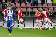 UTRECHT - FC Utrecht - SC Heerenveen , Voetbal , Eredivisie , Seizoen 2016/2017 , Stadion Galgenwaard , 05-02-2017 ,   SC Heerenveen speler Sam Larsson  (l) baalt terwijl FC Utrecht speler Andreas Ludwig (r) zijn doelpunt viert