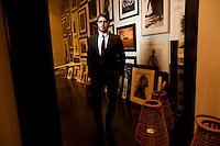 Francois Nars, makeup legend, and the man behind the ever-edgy brand NARS poses for a portrait in his  New York City studio.<br /> <br /> Photo by Robert Caplin