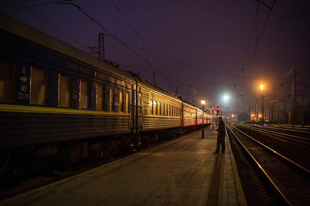 SLOVYANSK, UKRAINE - FEBRUARY 7, 2015: A train housing people displaced by fighting in the town of Debaltseve sits at the train station in Slovyansk, Ukraine. Many civilians have been evacuated from Debaltseve and brought to Slovyansk, where they are either given a free onward ticket or housed in the train or another facility until they can make further plans. CREDIT: Brendan Hoffman for The New York Times